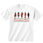 Five Stylish Devastating Divas Screen Printed T-Shirt, White