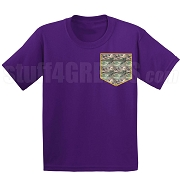 Camo Faux Pocket Screen Printed T-shirt