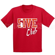 5/Five Club Screen Printed T-Shirt, Red/White