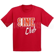 9/Nine Club Screen Printed T-Shirt, Red/White