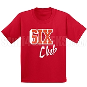 6/Six Club Screen Printed T-Shirt, Red/White