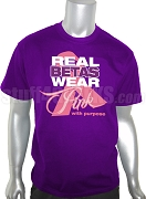 Sigma Lambda Beta Pink Ribbon Breast Cancer Awareness Screen Printed T-Shirt, Purple