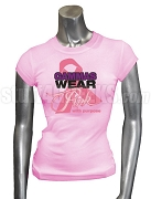 Sigma Lambda Gamma Pink Ribbon Breast Cancer Awareness Screen Printed T-Shirt, Pink