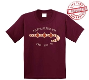 KappaNupeGear - Kappa Alpha Psi Letters and Logos T-Shirt, Crimson - EMBROIDERED with Lifetime Guarantee