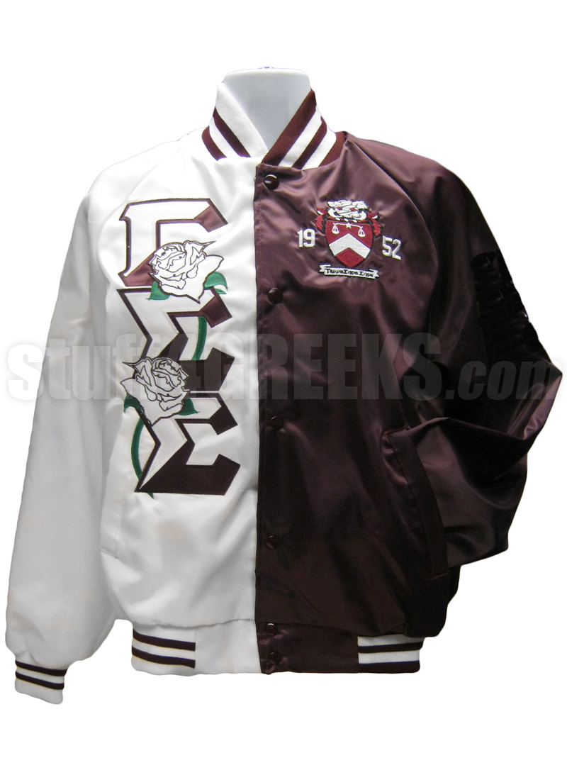 Gamma Sigma Sigma Greek Letter Two-Tone Baseball Jacket with Roses ...