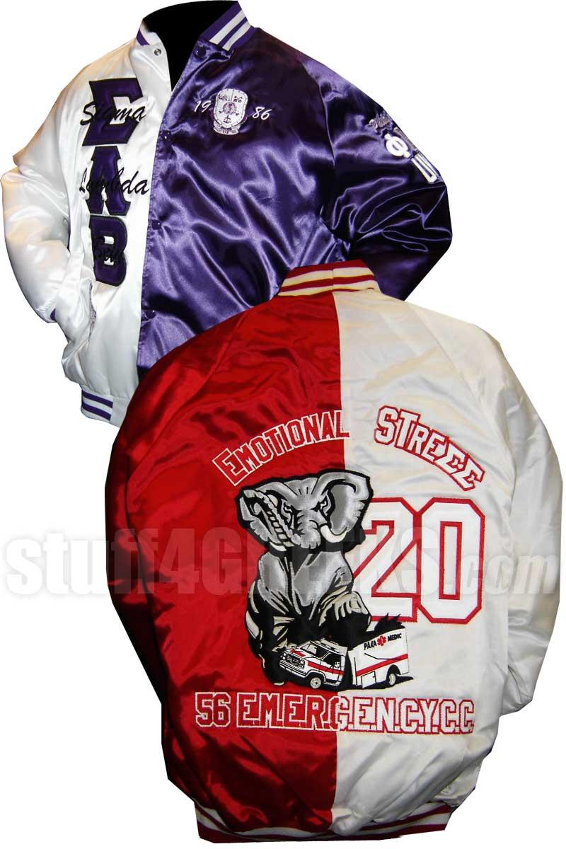 stuff4GREEKS® Custom Greek Two-Tone Satin Baseball Jacket | Split ...