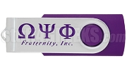 Omega Psi Phi 4G USB Flash Drive with Greek Letters, Purple