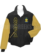 Acacia Crest Varsity Letterman Jacket with Organization Name, Black/Old Gold