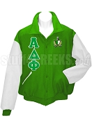 Alpha Delta Phi Varsity Letterman Jacket with Greek Letters and Crest, Kelly Green/White