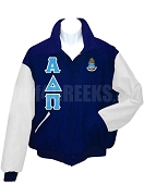 Alpha Delta Pi Varsity Letterman Jacket with Greek Letters and Crest, Navy Blue/White