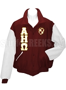 Alpha Eta Omega Varsity Letterman Jacket with Greek Letters and Crest, Burgundy/White