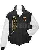 Alpha Eta Rho Varsity Letterman Jacket with Greek Letters and Crest, Black/White