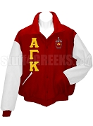 Alpha Gamma Kappa Varsity Letterman Jacket with Greek Letters and Crest, Cardinal