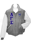 Alpha Gamma Sigma Varsity Letterman Jacket with Greek Letters and Crest, Gray