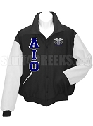 Alpha Iota Omicron Varsity Letterman Jacket with Greek Letters and Crest, Black/White