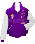 Alpha Kappa Lambda Varsity Letterman Jacket with Greek Letters and Crest, Purple/White