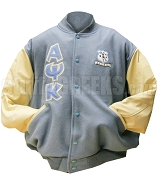 Alpha Kappa Psi Varsity Letterman Jacket with Greek Letters and Crest, Light Blue/Cream