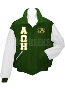Alpha Omega Eta Varsity Letterman Jacket with Greek Letters and Crest, Forest Green/White