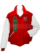 Alpha Omega Theta Varsity Letterman Jacket with Greek Letters and Crest, Red/White