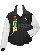 Alpha Pi Omega Varsity Letterman Jacket with Greek Letters and Bee, Black/White