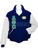 Alpha Psi Omega Varsity Letterman Jacket with Greek Letters and Crest, Moonlight Blue/White