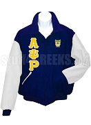 Alpha Psi Rho Varsity Letterman Jacket with Greek Letters and Crest, Navy Blue/White