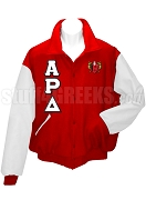 Alpha Rho Delta Varsity Letterman Jacket with Greek Letters and Crest, Red/White