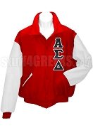 Alpha Sigma Delta Varsity Letterman Jacket with Greek Letters, Red/White