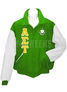 Alpha Sigma Tau Varsity Letterman Jacket with Greek Letters and Crest, Kelly Green