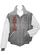 Alpha Tau Mu Varsity Letterman Jacket with Greek Letters and Crest, Gray/White