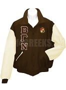 Beta Gamma Nu Varsity Letterman Jacket with Greek Letters and Crest, Brown/Cream