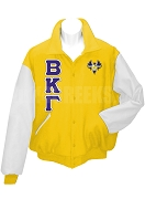 Beta Kappa Gamma Varsity Letterman Jacket with Greek Letters and Crest, Gold/White
