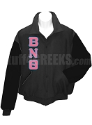 Beta Nu Theta Varsity Letterman Jacket with Greek Letters, Black/Black