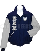 Beta Xi Chi Varsity Letterman Jacket with Greek Letters and Crest, Navy Blue/Silver