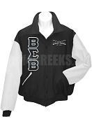 Buffalo Soldier Varsity Letterman Jacket with Greek Letters and Crest, Black/White
