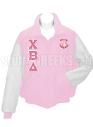 Chi Beta Delta Varsity Letterman Jacket with Crest and Greek Letters, Pink/White