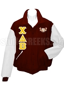 Chi Delta Beta Varsity Letterman Jacket with Crest and Greek Letters, Burgundy/White