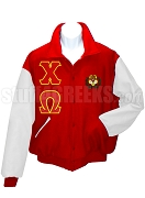 Chi Omega Varsity Letterman Jacket with Greek Letters and Crest, Red/White