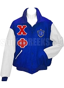 Chi Phi Varsity Letterman Jacket with Greek Letters and Crest, Royal Blue/White