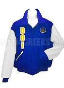 Daughters Of Isis Varsity Letterman Jacket with Greek Letters and Crest, Navy Blue/White