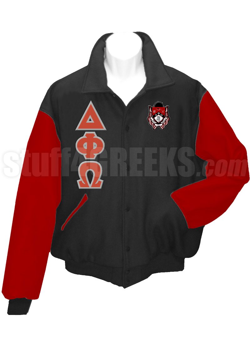 Delta Phi Omega Varsity Letterman Jacket with Greek Letters and ...