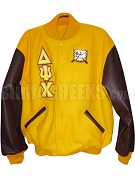 Delta Psi Chi Varsity Letterman Jacket with Greek Letters and Crest, Gold/Burgundy