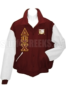 Delta Psi Chi Varsity Letterman Jacket with Greek Letters and Crest, Burgundy