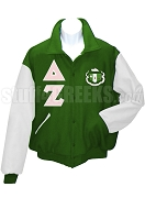 Delta Zeta Varsity Letterman Jacket with Greek Letters and Crest, Green/White