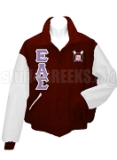 Epsilon Alpha Sigma Varsity Letterman Jacket with Greek Letters and Crest, Maroon/White