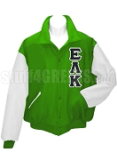 Epsilon Lambda Kappa Varsity Letterman Jacket with Greek Letters, Kelly Green/White