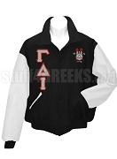 Gamma Delta Iota Varsity Letterman Jacket with Greek Letters and Crest, BlackWhite