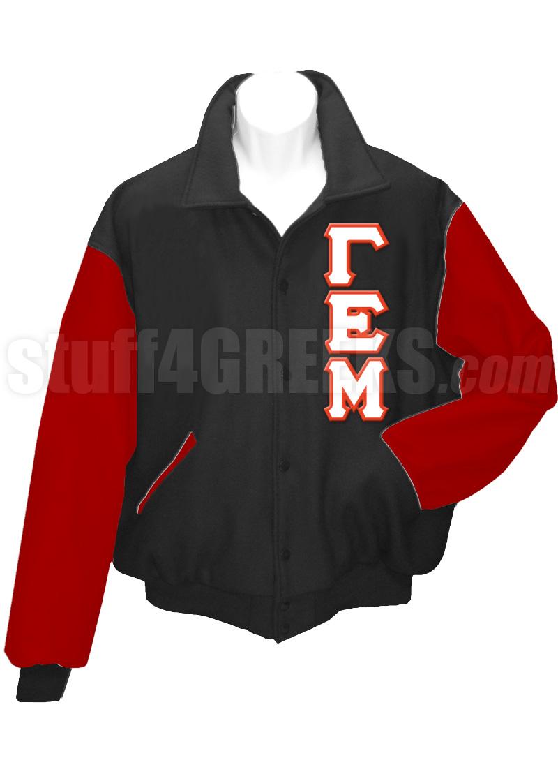 Gamma Epsilon Mu Varsity Letterman Jacket With Greek Letters Black Red