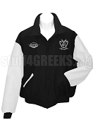 Groove Phi Groove Varsity Letterman Jacket with Creat and Detroit Grad Chapter Emblem, Black/White