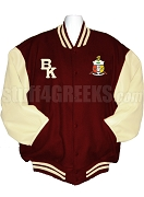 Kappa Alpha Psi Crest Varsity Letterman Jacket with Beta Kappa Chapter Logo and Back, Crimson/Cream